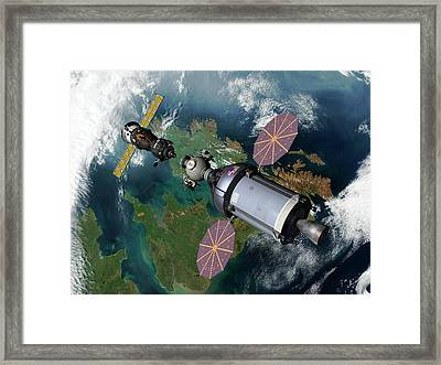 Cev And Soyuz Rendezvous Framed Print by Walter Myers