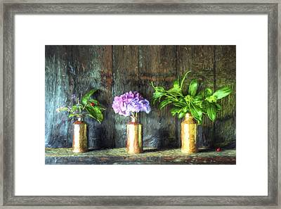 Cezanne Style Digital Painting Retro Style Still Life Of Dried Flowers In Vase Against Worn Woo Framed Print by Matthew Gibson