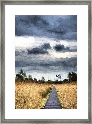 Cezanne Style Digital Painting Stormy Sky Landscape Over Wetlands In Countryside With Boardwalk Framed Print by Matthew Gibson
