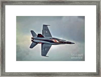 Framed Print featuring the photograph Cf18 Hornet Topview Flying by Cathy  Beharriell