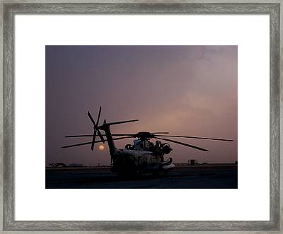 Ch-53 At Sunset In Afghanistan Framed Print by Jetson Nguyen