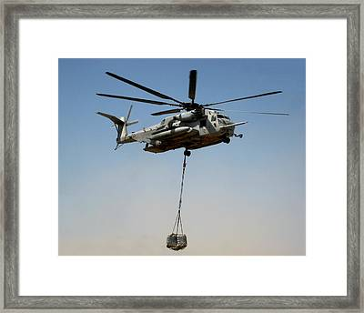 Ch-53 Carrying Cargo Load In Afghanistan Framed Print by Jetson Nguyen