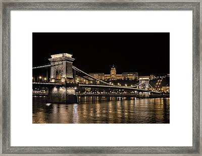 Chain Bridge And Buda Castle Winter Night Framed Print by Joan Carroll