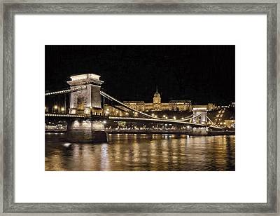 Chain Bridge And Buda Castle Winter Night Painterly Framed Print by Joan Carroll