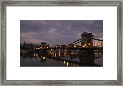 Chain Bridge Dawn Framed Print by Joan Carroll
