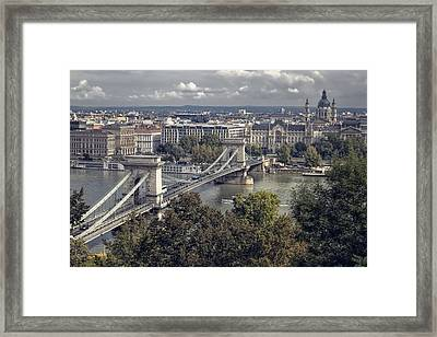 Chain Bridge Gresham Palace And Basilica Framed Print by Joan Carroll