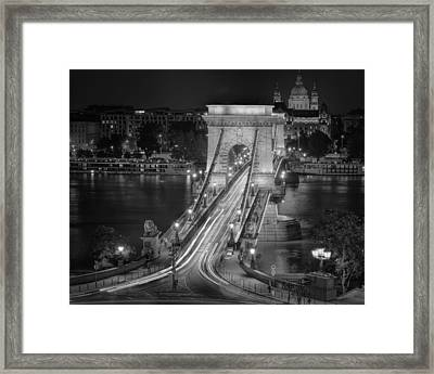 Chain Bridge Night Traffic Bw Framed Print by Joan Carroll