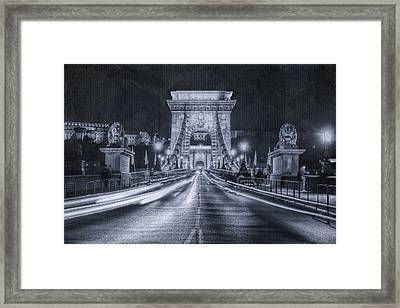 Chain Bridge Night Traffic Bwii Framed Print by Joan Carroll