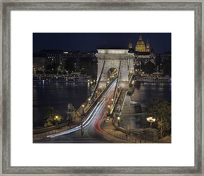 Chain Bridge Night Traffic Framed Print by Joan Carroll