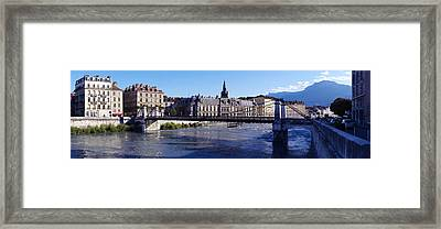 Chain Bridge Over A River, Grenoble Framed Print by Panoramic Images