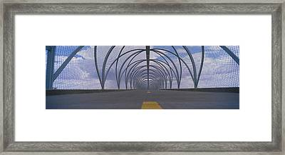 Chain-link Fence Covering A Bridge Framed Print by Panoramic Images