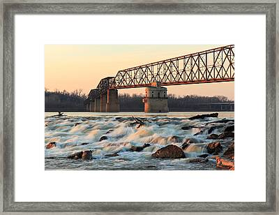 Chain Of Rocks Winter Sunset Framed Print