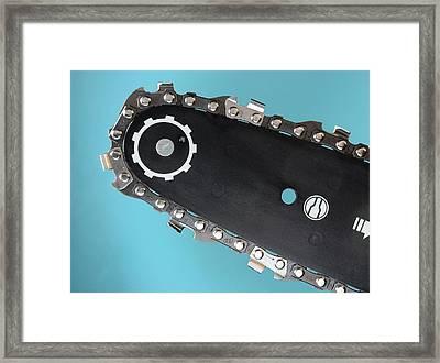 Chainsaw Cutting Chain Framed Print by Sheila Terry