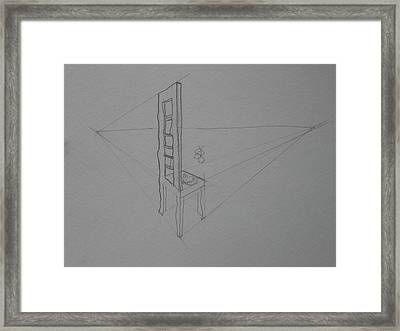 Framed Print featuring the drawing Chair by AJ Brown