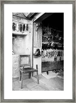 Chair At Shoe Shop Framed Print by Jagdish Agarwal