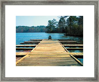 Chair On Dock By Jan Marvin Framed Print