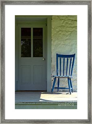 Chair On Farmhouse Porch Framed Print