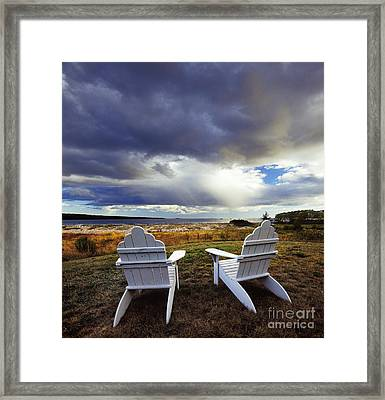 Chairs At La Petit Manan Framed Print by Jim Block