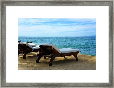 Chairs At The Beach Framed Print by Aged Pixel