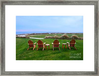 Chairs At The Eighteenth Hole Framed Print by Catherine Sherman