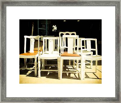 Chairs In White Framed Print by Sonja Quintero