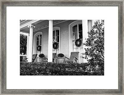 Chairs On The Front Porch Mono Framed Print by John Rizzuto