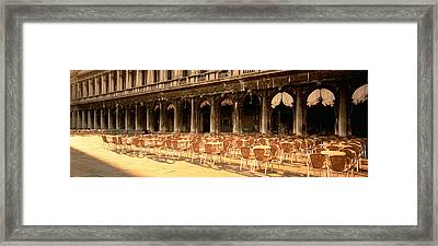Chairs Outside A Building, Venice, Italy Framed Print