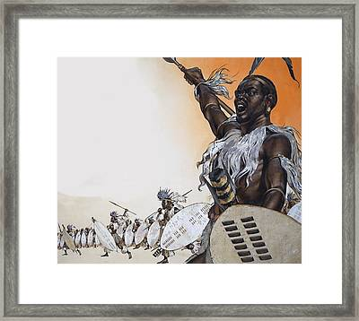 Chaka In Battle At The Head Framed Print by Angus McBride