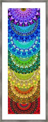 Chakra Mandala Healing Art By Sharon Cummings Framed Print by Sharon Cummings