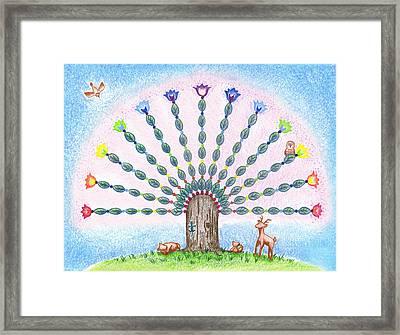 Framed Print featuring the drawing Chakra Tree by Keiko Katsuta