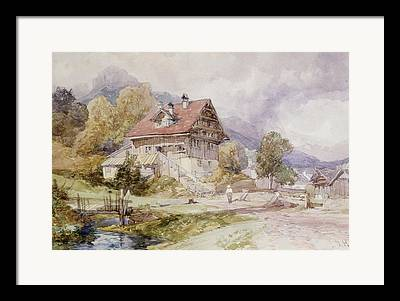 Swiss Landscape Drawings Framed Prints