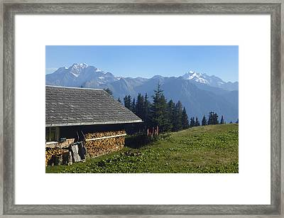 Chalet In The Swiss Alps Bettmeralp Switzerland Framed Print