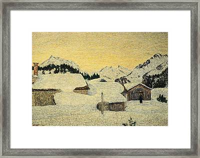 Chalets In Snow Framed Print