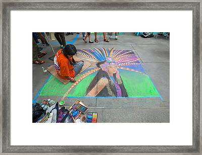 Pasadena Chalk Art - Street Photography Framed Print by Ram Vasudev
