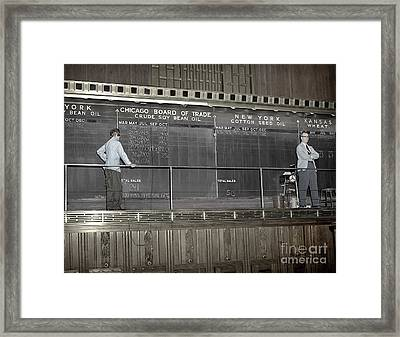 Chalk Board Of Trade 1951 Framed Print