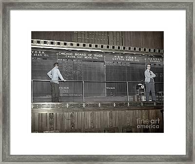 Chalk Board Of Trade 1951 Framed Print