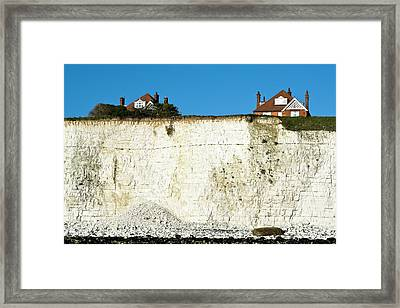 Chalk Cliffs And Houses Framed Print by Carlos Dominguez