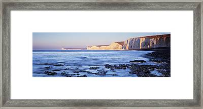 Chalk Cliffs At Seaside, Seven Sisters Framed Print by Panoramic Images