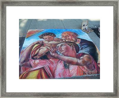 Chalk Painting By Street Artist Framed Print