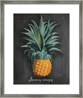 Chalkboard Pineapple Print Framed Print by Natalie Skywalker