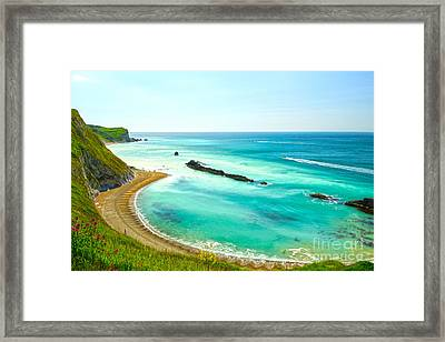 Chalky Shores Framed Print by Andrew Middleton