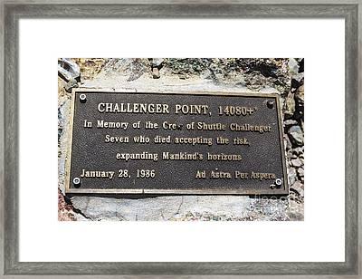 Challenger Shuttle Memorial Plaque Framed Print