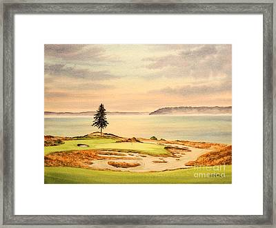 Framed Print featuring the painting Chambers Bay Golf Course Hole 15 by Bill Holkham