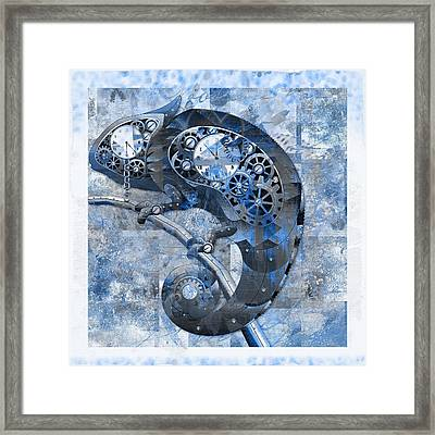 Chameleon - Blue 01b02 Framed Print by Variance Collections