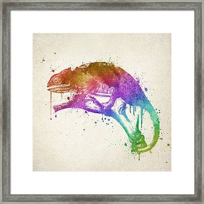 Chameleon Splash Framed Print by Aged Pixel
