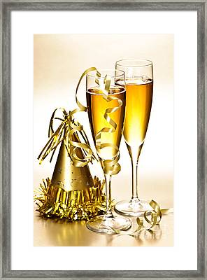 Champagne And New Years Party Decorations Framed Print