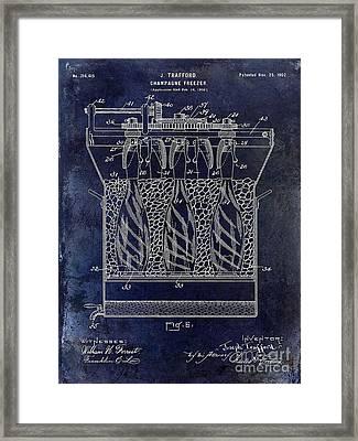 Champagne Bottle Freezer Patent 1902 Blue Framed Print