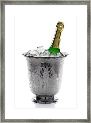 Champagne Bottle On Ice Framed Print