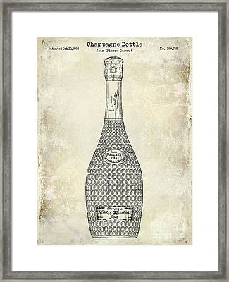 Champagne Bottle Patent Drawing Framed Print