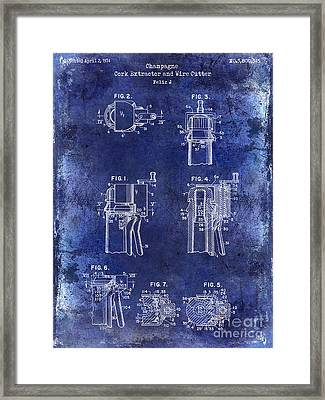 Champagne  Cork Extractor And Wire Cutter Patent Drawing Blue Framed Print by Jon Neidert